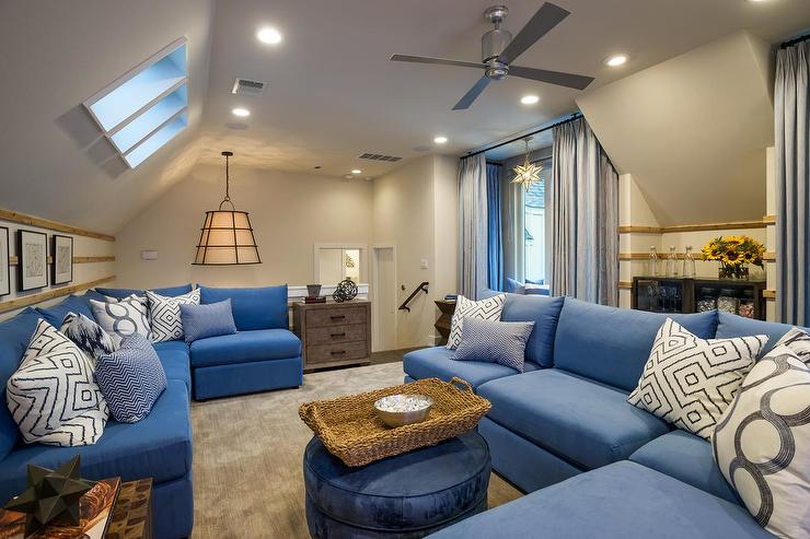 Family Room With Blue Armless Sectional View Full Size