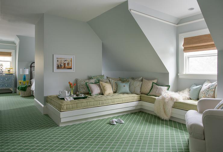 Attic lounge transitional bedroom benjamin moore for Cool attic room ideas