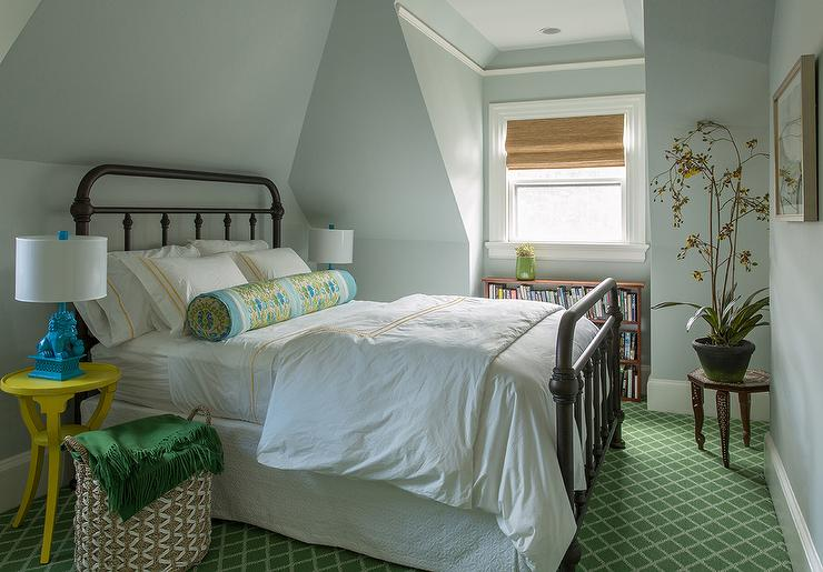 Bedroom With Turquoise Foo Dog Lamps Transitional