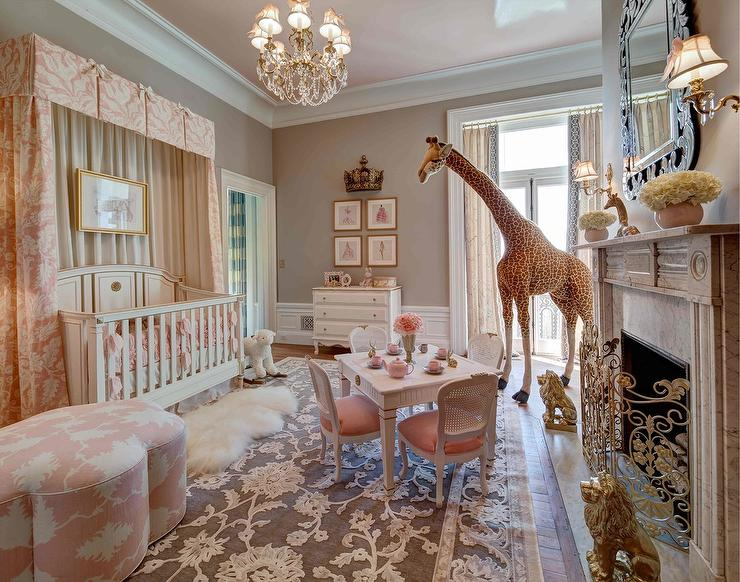 Crib with pink valance and curtains french nursery for Drapes over crib