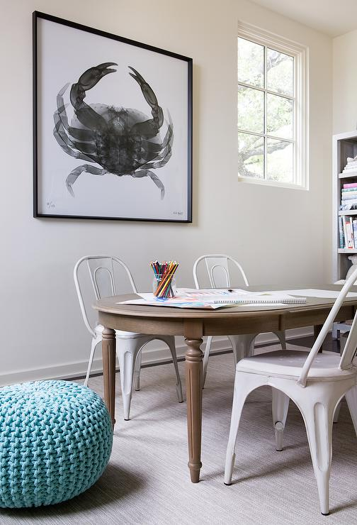 Boys Room Features A French Oval Play Table Restoration Hardware Baby Child Empire Extension Lined With White Tolix Kids Chairs