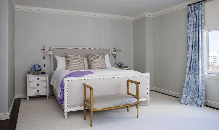 Gray Bedroom With Purple Accents Transitional Bedroom