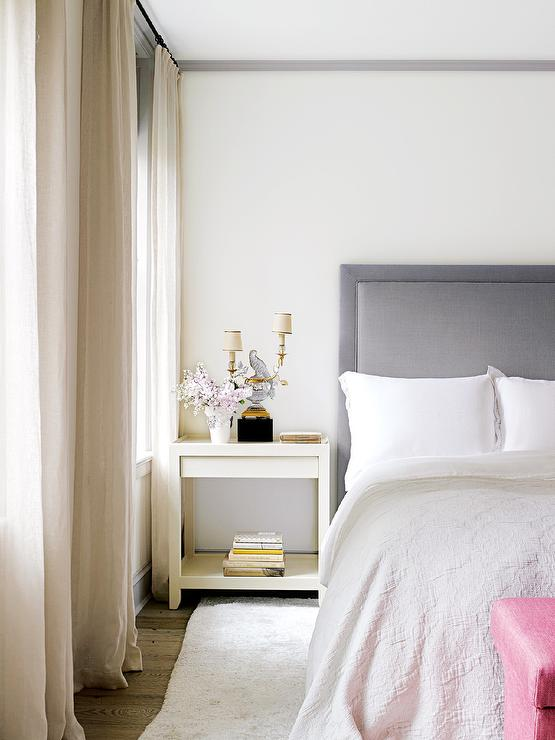 Grey and pink bedroom grey headboard ivory nightstand pink bench