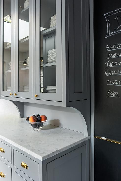 Kitchen With Chalkboard On Slate Pantry Door