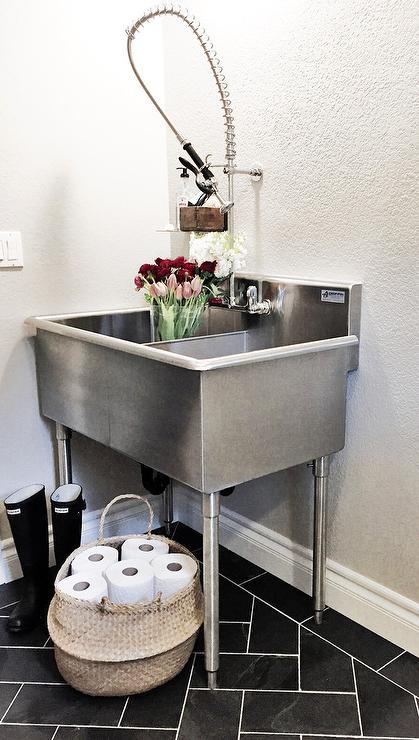 Laundry Room Sinks Stainless Steel : ... Room with Stainless Steel Utility Sink - Transitional - Laundry Room
