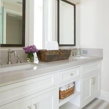 White Double Washstand with Gray Quartz Countertop. Dark Gray Quartz Countertop Design Ideas