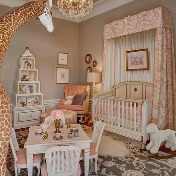 Pink and Taupe Nursery, French, Nursery, Benjamin Moore East Lake Rose