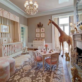 Kristina Ashley Interiors · Crib With Pink Valance And Curtains