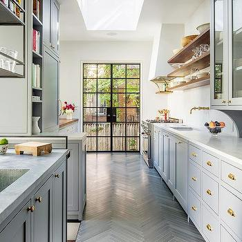 Gray Galley Kitchen Design, Contemporary, Kitchen, Benjamin Moore Deep Silver