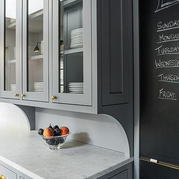 Kitchen with Chalkboard on Slate Pantry Door, Contemporary, Kitchen, Benjamin Moore Deep Silver