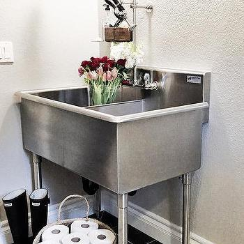 Laundry Room Sinks Stainless Steel : Laundry room features a freestanding stainless steel dual utility sink ...