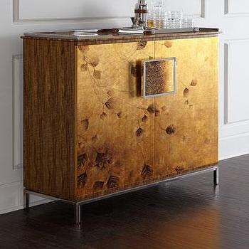 Good Lee Lacquered Gold Side Cabinet