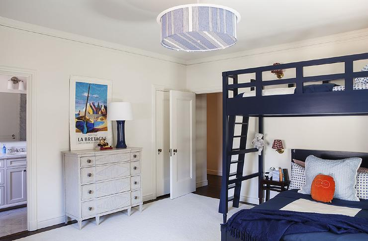 Kids room with navy bunk beds for Blue and white boys room