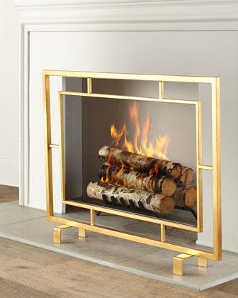 Shay Glass Gold Fireplace Screen