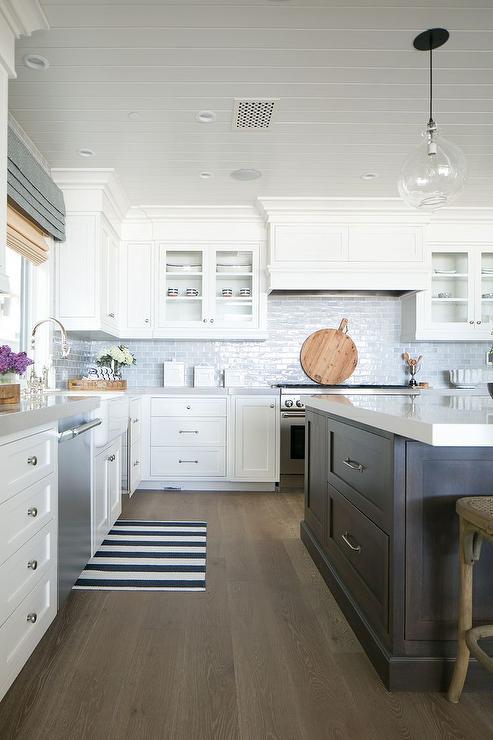 Blue Brick Tile Backsplash Cottage Kitchen