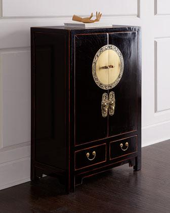 Two-Door Black Tall Cabinet