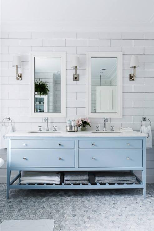 Sky blue bathroom vanity transitional bathroom for Blue and white bathroom decor
