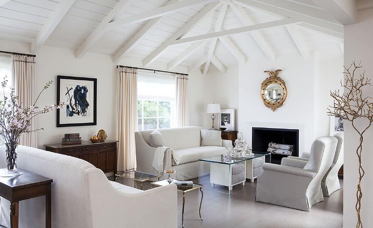 White Sofa With Gray Chairs