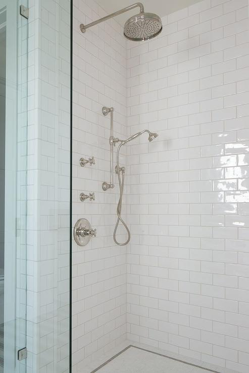 shower with white subway tiles and glass shower partition - White Subway Tile Shower