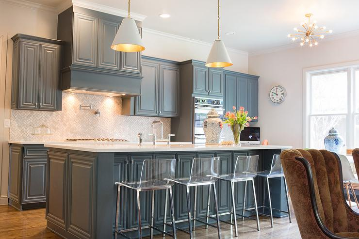 Gray Blue Kitchen Cabinets Transitional Kitchen - Bluish grey kitchen cabinets