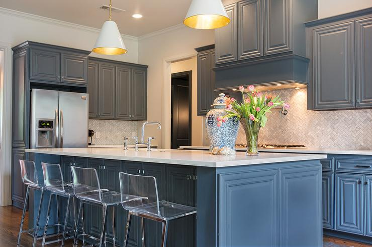 Gray blue kitchen cabinets transitional kitchen for Blue gray kitchen cabinets
