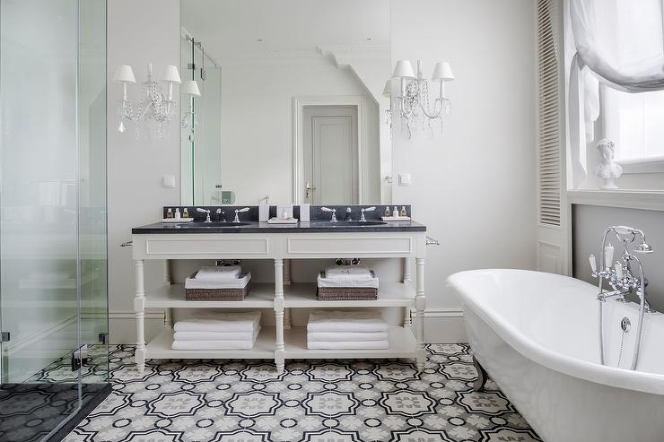 Cream and gray moroccan floor tiles transitional bathroom for Modern bathroom tile trends