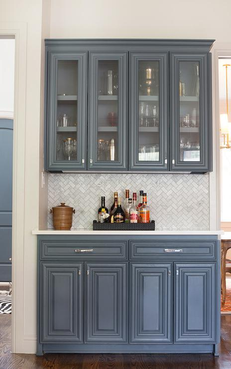 Butler pantry with marble chevron backsplash for Grey blue white kitchen