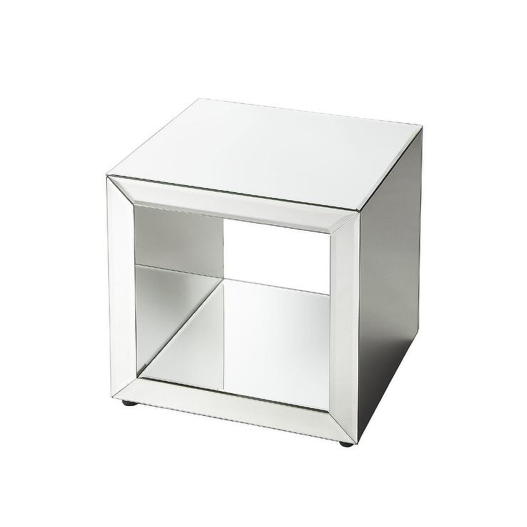 Superb Marie Silver Mirror Side Table
