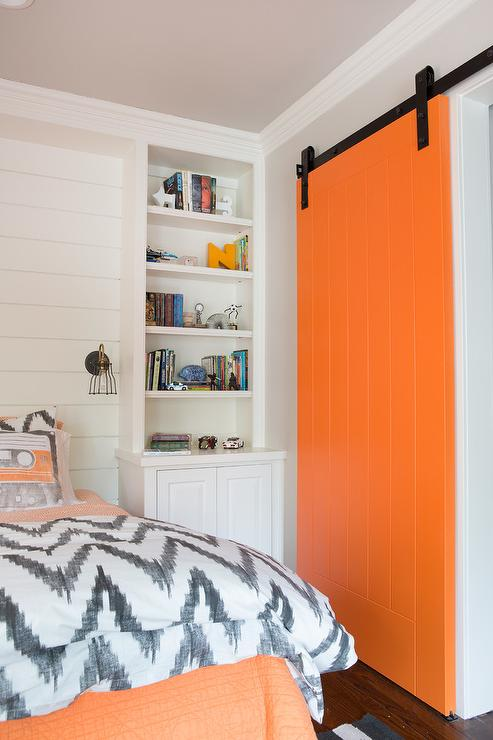 Kids Closet Orange Barn Door Contemporary Boys Room