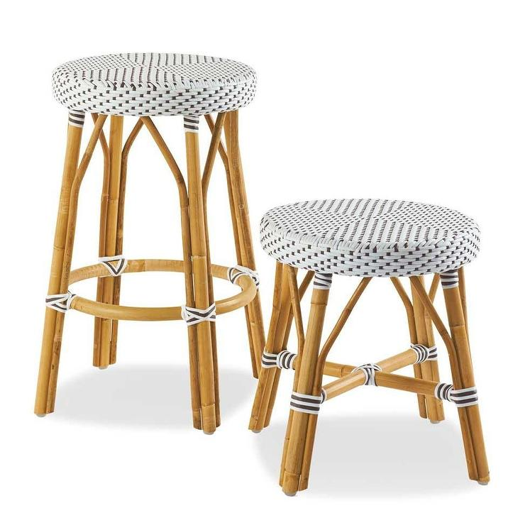 Rattan White And Gray Stools