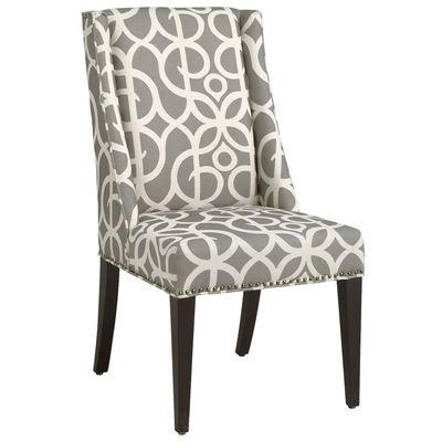 Gray Nailhead Curved Back Upholstered Dining Chair