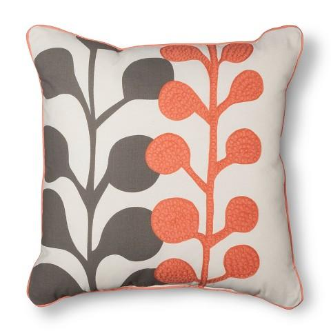 Room Essentials Embroidered Grey And Orange Floral Toss Pillow