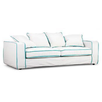 Vasteras Aqua Piping Sofa Linen