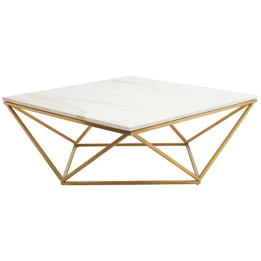 Nuevo jasmine gold coffee table for Square marble top coffee table