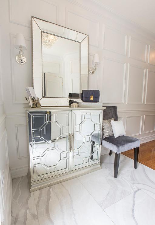 Foyer Mirror Cabinet : Mirrored octagon cabinet contemporary entrance foyer