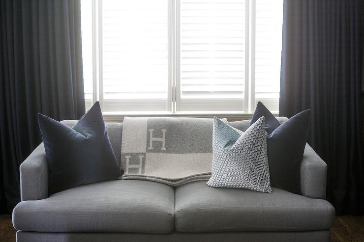 Gray Hermes Blanket Contemporary Living Room