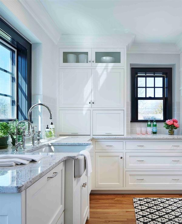 Roman White Granite Transitional Kitchen Farrow And