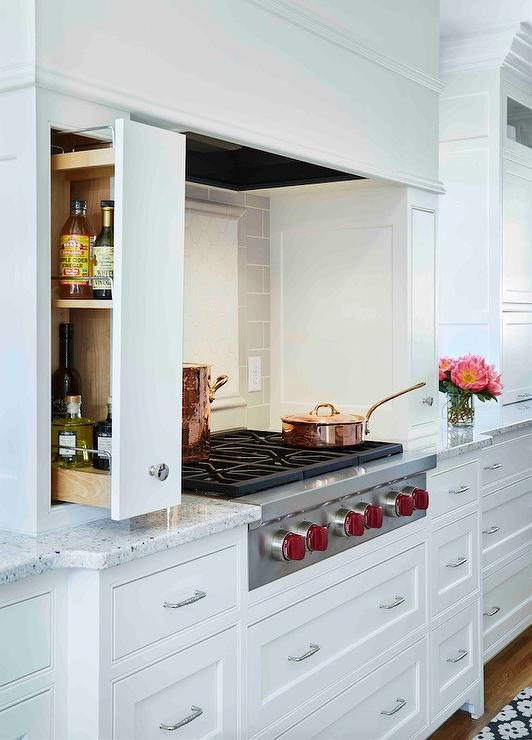 Cooking Alcove With Pull Out Spice Racks Transitional