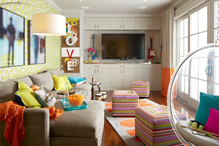 Yellow And Gray Family Rooms Contemporary Living Room