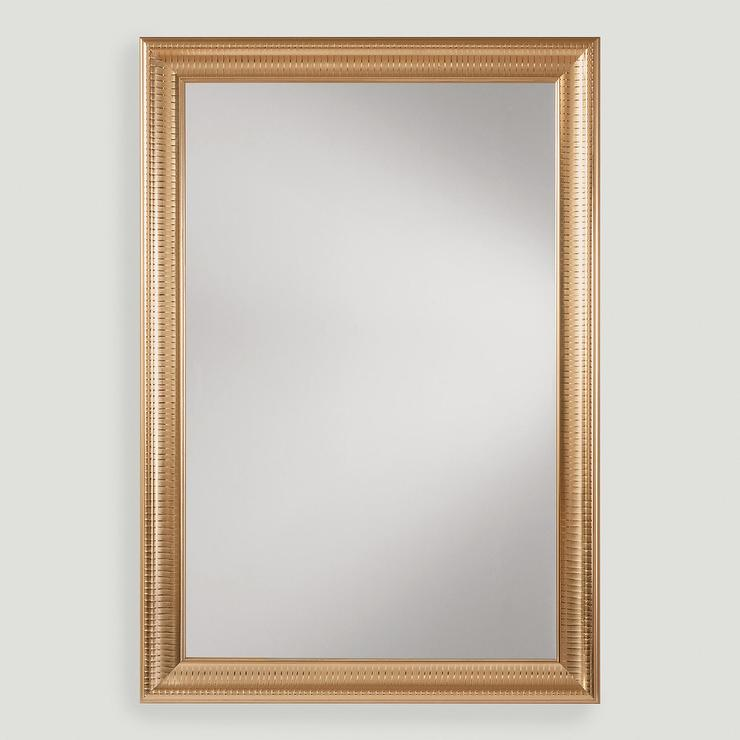Gold metal framed rectangular mirror for Metal frame mirror