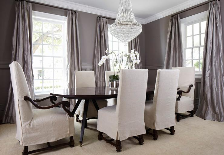 Gray dining room wainscoting transitional dining room for Dining room drapes