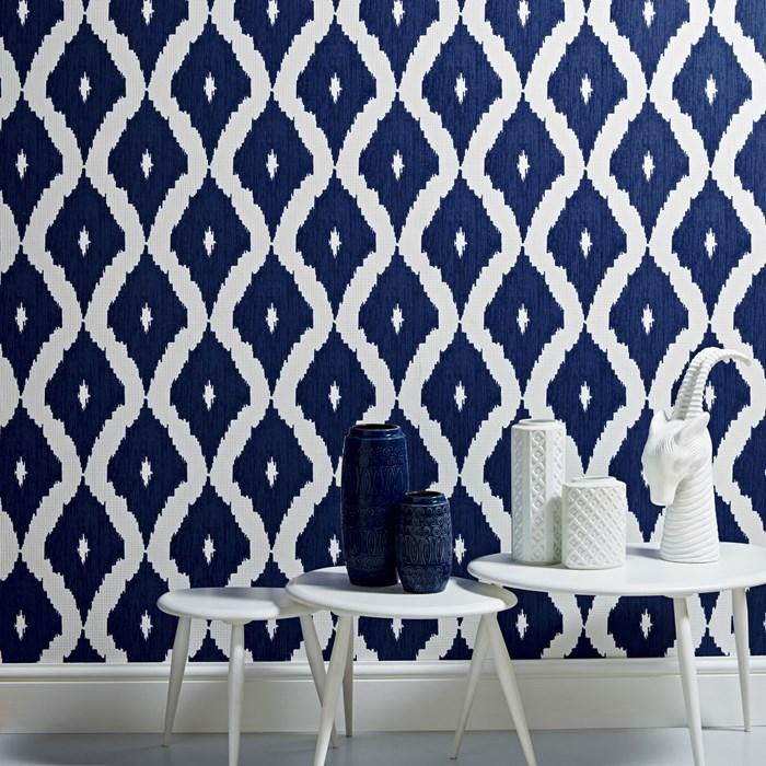 Kellys Ikat White And Blue Wallpaper