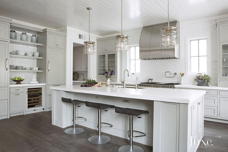 Kitchen with nautical cage pendants transitional kitchen Kitchen design light grey