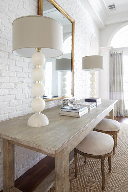 Living room with white brick walls transitional living - White walls living room ...