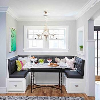 Dark Gray Tufted Dining Banquette