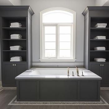 Gray Bathroom Built Ins Design Ideas