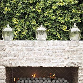 Patio White Brick Fireplace With Taupe Herringbone Firebox