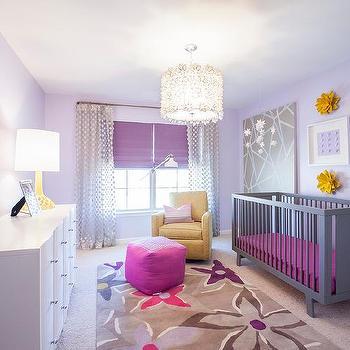 purple nursery with belle upholstered crib transitional nursery. Black Bedroom Furniture Sets. Home Design Ideas