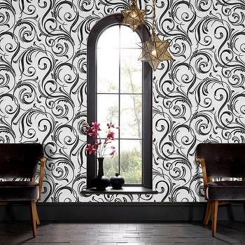 Ennis charcoal wallpaper for Schumacher chenonceau charcoal wallpaper