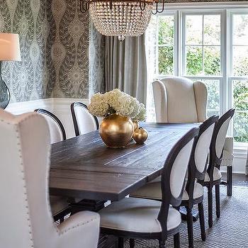 Black Salvaged Wood Trestle Dining Table Transitional Dining Room - Salvaged wood trestle round dining table